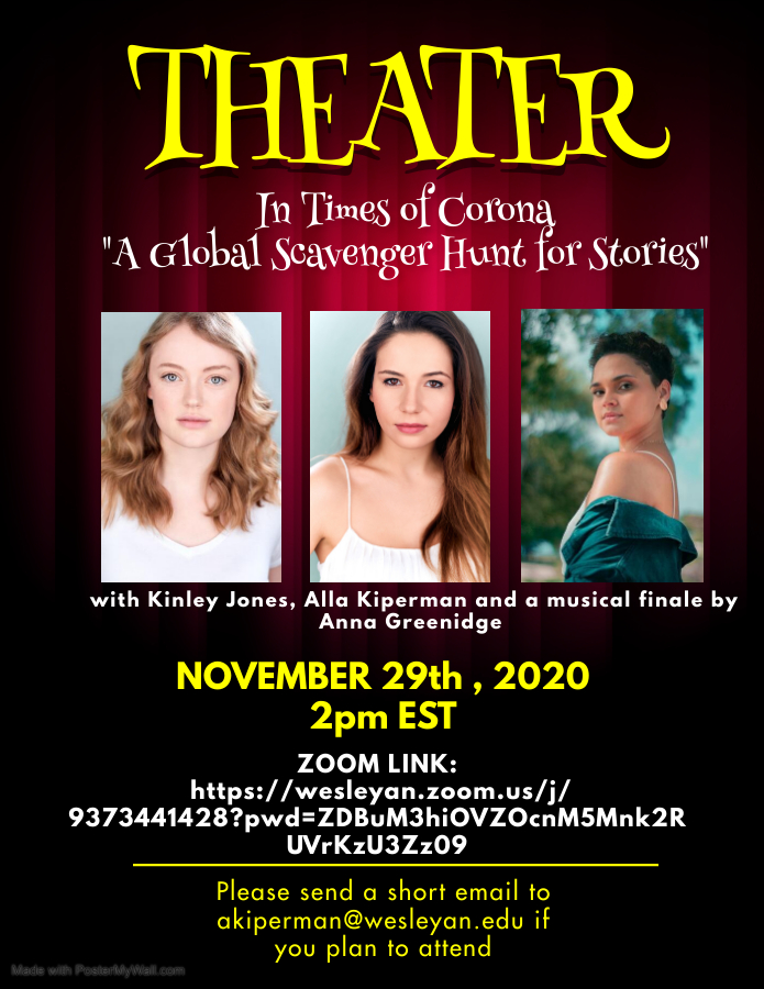 Theatre in Times of Corona: A global Scavenger Hunt for Stories by Alla Kiperman '21